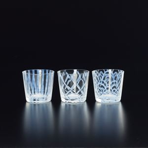 [Set of 3] Taisho Roman Glass / Tokusa / Tsunagi Koushi / Nami / Hirota Glass
