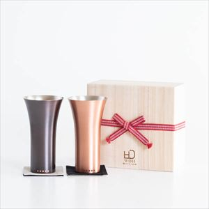 [Set] [Paulownia box] Pair pure copper tumbler / Mat & Brown / WDH