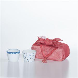 【セット】印判そば猪口 あられと瓔珞 セット(化粧箱入) 布巾包/東屋