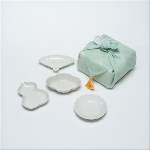 【セット】豆皿 土灰 4枚組(化粧箱入) はんかち包/東屋