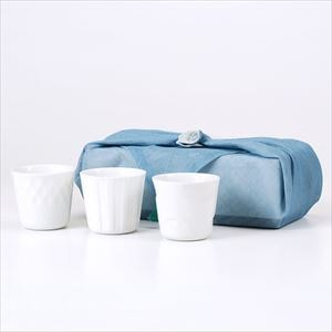 [Dishcloth wrapping] [Set of 3] [Exclusive box] HONOKA / Translucent porcelain cups / Oda Pottery / Oda Pottery