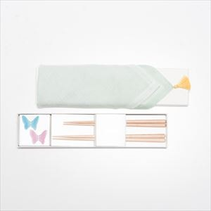 [Handkerchief wrapping] Butterfly 2 pairs / Chopsticks set / Pink & Blue / Floyd