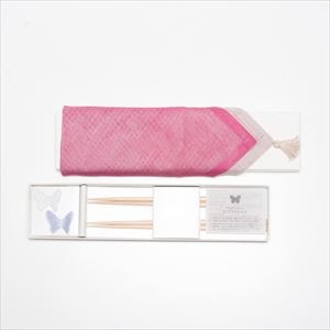 [Handkerchief wrapping] Butterfly 2 pairs / Chopsticks set / White & Purple / Floyd