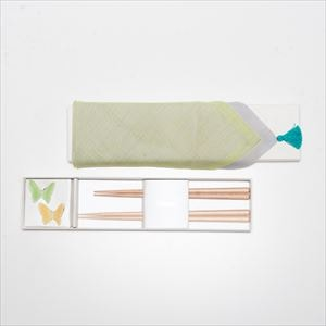 [Handkerchief wrapping] Butterfly 2 pairs / Chopsticks set / Green & Yellow / Floyd