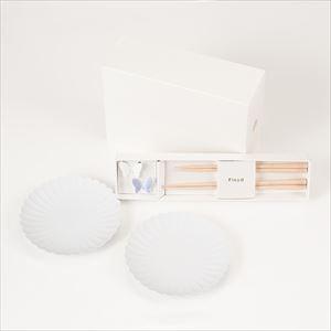 【セット】パレスプレート小 ペア と バタフライ箸置きの夫婦箸セット ホワイト&パープル