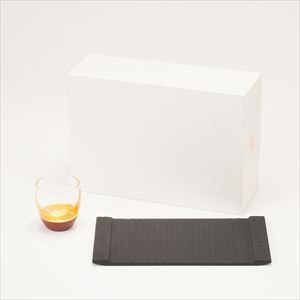 [Set] Japanese modern sake set / Gold & Red / Lacquer sake cup & Slate board