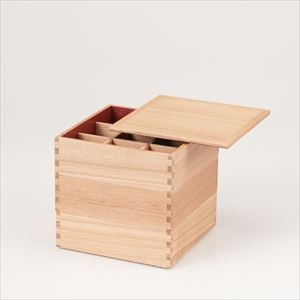 【仕切り付】白木(タモ)の三段重 6寸重箱 内朱/松屋漆器店