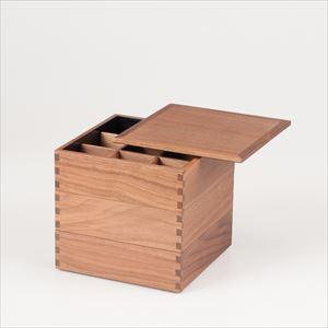 【仕切り付】ウォールナットの三段重 6寸重箱 内黒/松屋漆器店