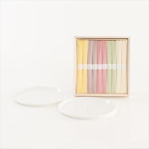 夏のおしゃれな五色の素麺とラウンドプレート2枚のセット 化粧箱入_Image_1