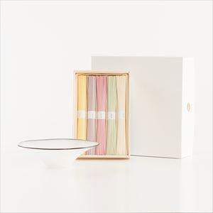 夏のおしゃれな五色そうめんとkasumiガラスボウルSの涼やかセット Ivory 化粧箱入