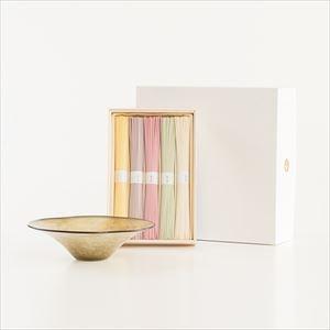 夏のおしゃれな五色そうめんとkasumiガラスボウルSの涼やかセット browngreen 化粧箱入