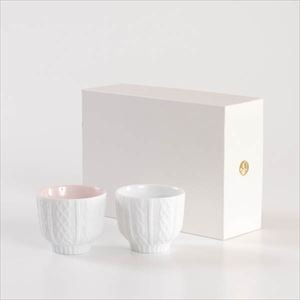 [Set] [Exclusive box] Pair teacups / Knit wear / Red & White / Trace Face series / Cement Produce Design