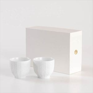 [Set] [Exclusive box] Pair teacups / Rattan basket / White / Trace Face series / Cement Produce Design