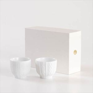 [Set] [Exclusive box] Pair teacups / Knit wear & Rattan basket / White / Trace Face series / Cement Produce Design