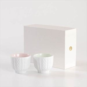 [Set] [Exclusive box] Pair teacups / Knit wear / Pink & Green / Trace Face series / Cement Produce Design