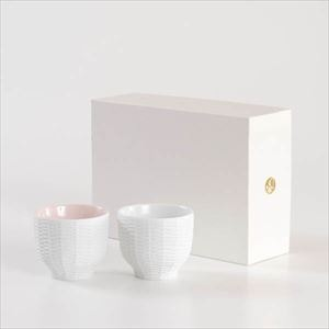 [Set] [Exclusive box] Pair teacups / Rattan basket / Red & White / Trace Face series / Cement Produce Design