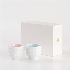 [Set] [Exclusive box] Pair teacups / Rattan basket / Pink & Blue / Trace Face series / Cement Produce Design