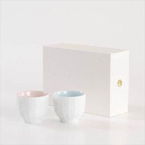 【セット】トレースフェース ラタン 桃&空 ペアカップ化粧箱入/ セメントプロデュースデザイン