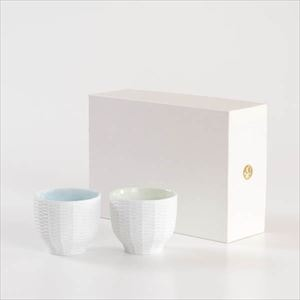[Set] [Exclusive box] Pair teacups / Rattan basket / Green & Blue / Trace Face series / Cement Produce Design