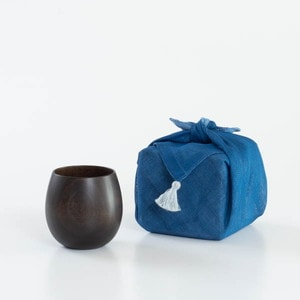 [Handkerchief wrapping] Wooden cup / SAKURA Egg / Black / Gato Mikio Store