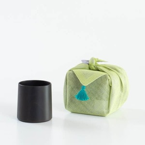 [Handkerchief wrapping] Wooden cup / SAKURA Cylinder / Black / Gato Mikio Store