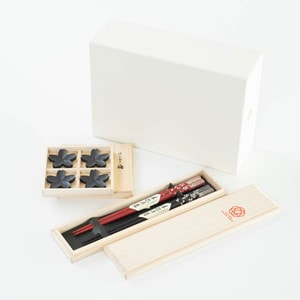 [Set] [Exclusive box] Sakura fubuki set / 2 pairs of chopsticks & Chopstick Rest set / Wajima urushi chopsticks & Yamagata casting