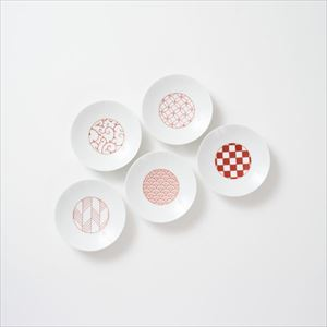 [Set of 5] [Exclusive box] Wa-Modern / 5 patterns / Kozara / Red / Eiho porcelain