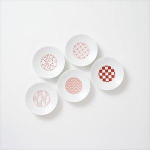 【セット】和モダン 小皿 赤 5点セット 化粧箱入/豆皿/永峰製磁
