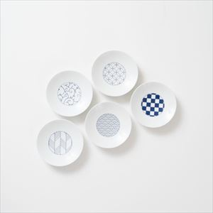 [Set of 5] [Exclusive box] Wa-Modern / 5 patterns / Kozara / Blue / Eiho porcelain