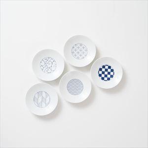 【セット】和モダン 小皿 青 5点セット 化粧箱入/豆皿/永峰製磁
