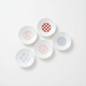 [Set of 5] [Exclusive box] Wa-Modern / 5 patterns / Kozara / Red & Blue / Eiho porcelain