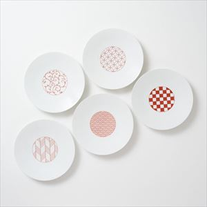 [Set of 5] [Exclusive box] Wa-Modern / 5 patterns / Chuzara / Red / Eiho porcelain