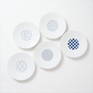 [Set of 5] [Exclusive box] Wa-Modern / 5 patterns / Chuzara / Blue / Eiho porcelain