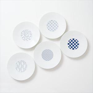 【セット】和モダン 19cmプレート 青 5点セット 化粧箱入/中皿/永峰製磁