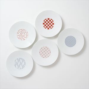 【セット】和モダン 19cmプレート 赤&青 5点セット 化粧箱入/中皿/永峰製磁