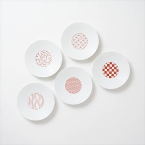 [Set of 5] [Exclusive box] Wa-Modern / 5 patterns / Torizara / Red / Eiho porcelain
