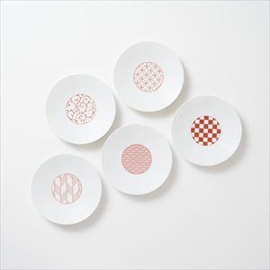 【セット】和モダン 15cmプレート 赤 5点セット 化粧箱入/取皿/永峰製磁