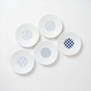 【セット】和モダン 15cmプレート 青 5点セット 化粧箱入/取皿/永峰製磁