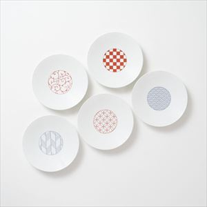 [Set of 5] [Exclusive box] Wa-Modern / 5 patterns / Torizara / Red & Blue / Eiho porcelain
