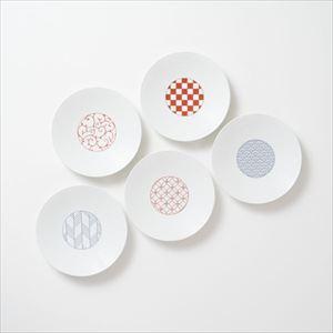 【セット】和モダン 15cmプレート 赤&青 5点セット 化粧箱入/取皿/永峰製磁