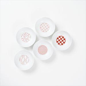 【セット】和モダン 小鉢 赤 5点セット 化粧箱入/永峰製磁