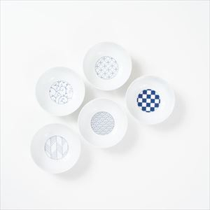 [Set of 5] [Exclusive box] Wa-Modern / 5 patterns / Small bowl / Blue / Eiho porcelain