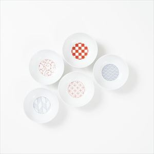 [Set of 5] [Exclusive box] Wa-Modern / 5 patterns / Small bowl / Red & Blue / Eiho porcelain