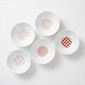 [Set of 5] [Exclusive box] Wa-Modern / 5 patterns / Deep plate / Red / Eiho porcelain