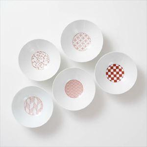 【セット】和モダン 深皿 赤 5点セット 化粧箱入/永峰製磁
