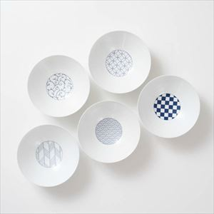 [Set of 5] [Exclusive box] Wa-Modern / 5 patterns / Deep plate / Blue / Eiho porcelain