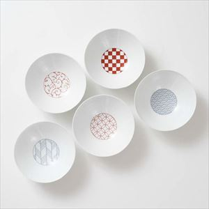 [Set of 5] [Exclusive box] Wa-Modern / 5 patterns / Deep plate / Red & Blue / Eiho porcelain