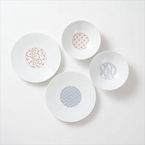 [Set of 4] [Exclusive box] Wa-Modern / 4 patterns / Deep plate & Chuzara / Eiho porcelain