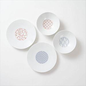 【セット】和モダン 縁起のよい深皿&中皿のペアセット 化粧箱入/永峰製磁