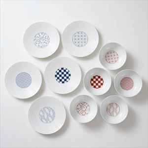 [Set of 10] [Exclusive box] Wa-Modern / 5 patterns / Small bowl & Torizara / Eiho porcelain